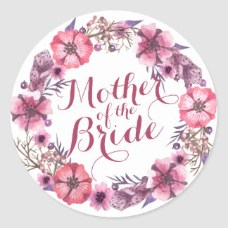 Mother of the Bride Pink Floral Wedding Sticker