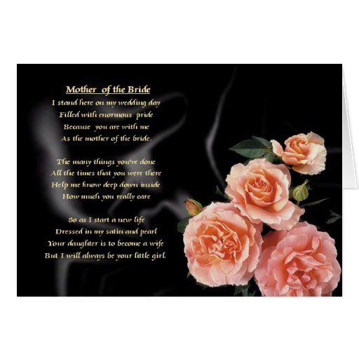 Mother of the Bride Poem - Pink Flowers Greeting Card