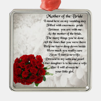 Mother of the Bride Poem - Red Roses Metal Ornament