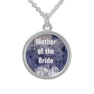 Mother of the Bride Rustic Blue Gift Sterling Silver Necklace