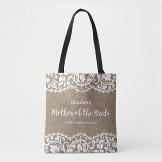 Mother of the Bride Rustic Lace Burlap Custom Tote Bag