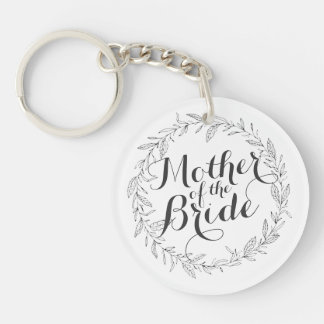Mother of the Bride Simple Floral Wedding Keychain