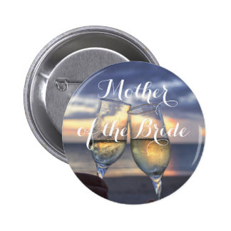 Mother of the Bride Sunset On Beach Wedding Button