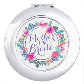 Mother of the Bride Tropical Floral Compact Mirror