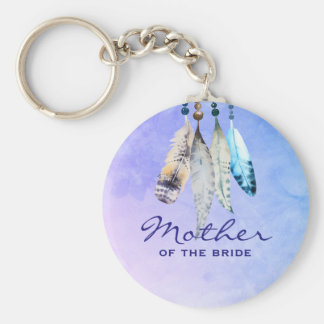 Mother of the Bride Watercolor Featherss Key Ring