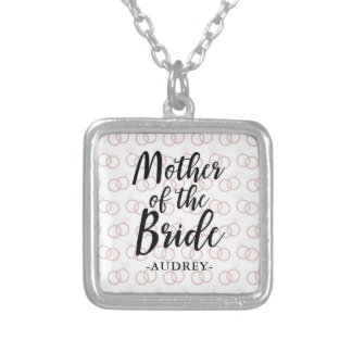 Mother of the Bride Wedding Ring Pattern and Name Silver Plated Necklace