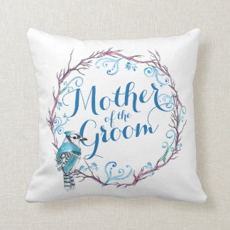 Mother of the Groom Blue Bird Wedding  Pillow