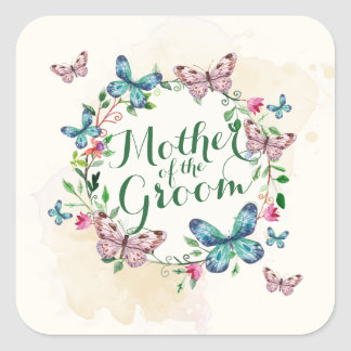 Mother of the Groom Butterfly Wreath Sticker Seal