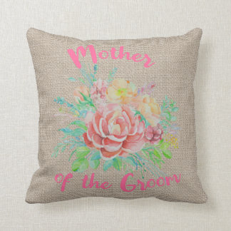 Mother of the Groom Floral Watercolor Burlap Cushion