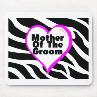 Mother Of The Groom (Heart Zebra Stripes) Mouse Pad