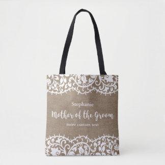 Mother of the Groom Rustic Lace Burlap Custom Tote Bag