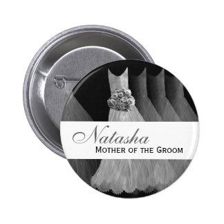 MOTHER OF THE GROOM Silver Gowns F201A 6 Cm Round Badge