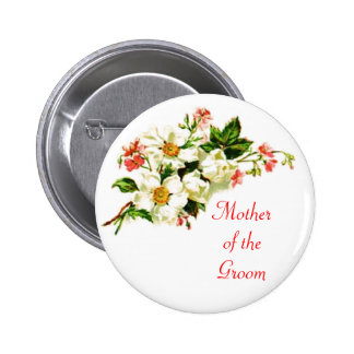Mother of the Groom Spray of Flowers  Pin Button