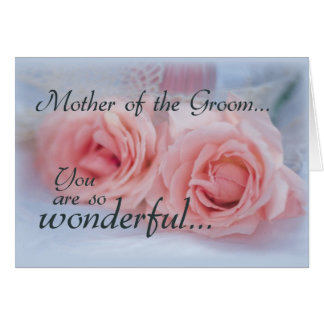 Mother of the Groom, Thank You, Pink Roses Greeting Card