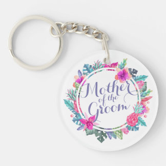 Mother of the Groom Tropical Wedding Keychain