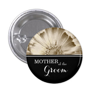 Mother of The Groom Wedding Gold Daisy 3 Cm Round Badge
