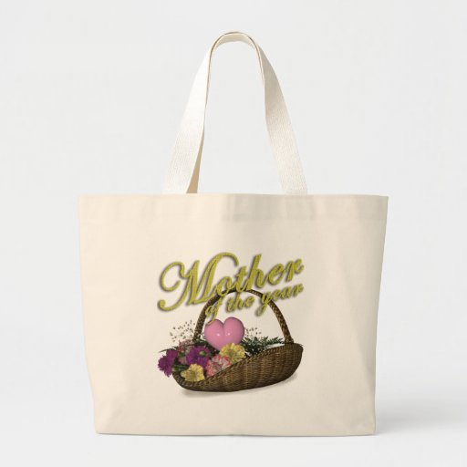 Mother of the Year Flower Basket Mother's Day Gift Canvas Bags