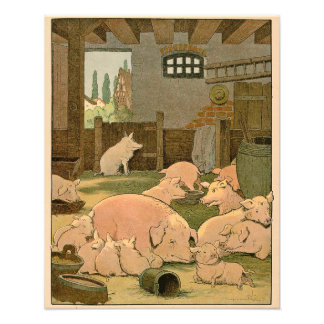 Mother Pig and Piglets on the Farm Art Photo