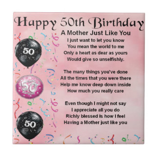 Mother Poem  -  50th Birthday Small Square Tile