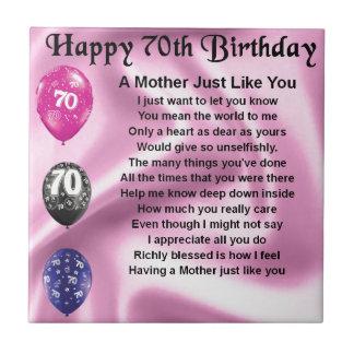 Mother Poem - 70th Birthday Ceramic Tile