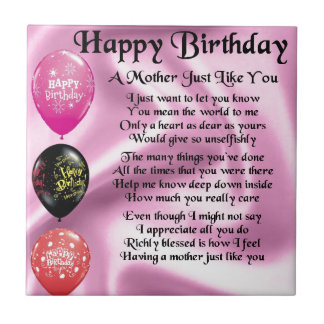Mother Poem - Happy Birthday Small Square Tile