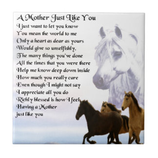 Mother Poem -  Horses Design Ceramic Tile