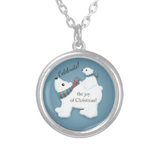 Mother Polar Bear and Baby on Blue Christmas Silver Plated Necklace
