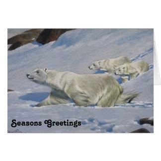 Mother Polar Bear and Cubs Greeting Card