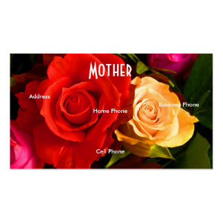 Mother Red Yellow Roses Profile Card Business Card