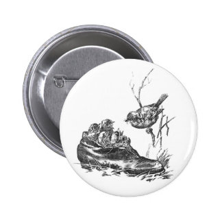 Mother Robin and Her Babies in a Shoe Pinback Button