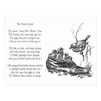 Mother Robin and Her Babies in a Shoe Postcard