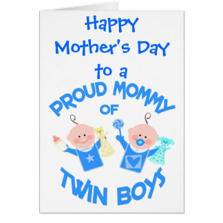 Mother s Day Mom of Twin Boys Greeting Card