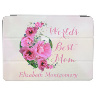 Mother's Day Pink Flower Heart Bouquet Custom Name iPad Air Cover