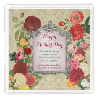 Mother's Day Sweet Roses Fancy Baroque Photo Frame Acrylic Tray