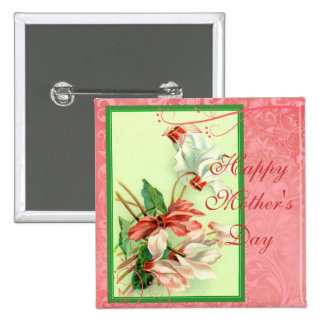 Mother s Day Vintage Pink and White Cyclamen Pins