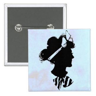 Mother s Day Vintage Woman Silhouette on Blue Pin