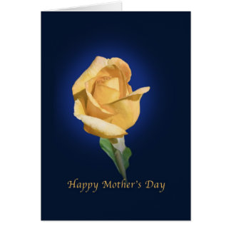 Mother s Day with Yellow Rose Bud Greeting Card