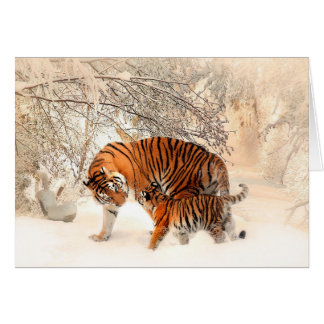 Mother Tiger and Cub in the Snowy Woods Card