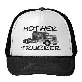 MOTHER TRUCKER - BLACK WHITE MESH HATS