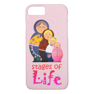 Mother Woman Ageing Life Funny Matryoshka Pink iPhone 7 Case