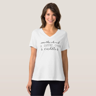 Motherhood Is... Ladies V-Neck T Shirt