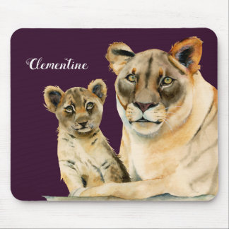 Motherhood | Lioness and Cub | Add Your Name Mouse Pad