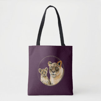 Motherhood | Lioness and Cub Watercolor Painting Tote Bag
