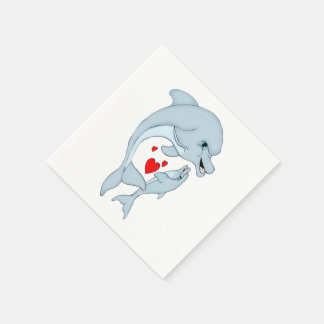 Motherly Dolphin Love Paper Napkins