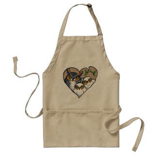 Motherly Horned Owl Nest Heart Apron