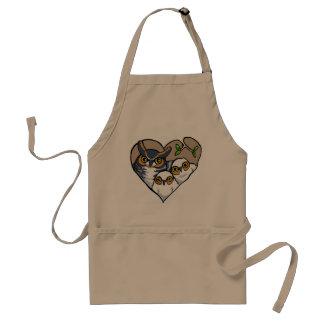 Motherly Horned Owl Nest Heart Apron