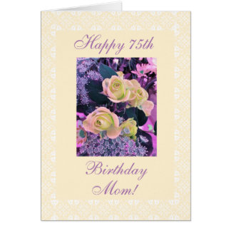 Mother's 75th birthday flowers freesia card