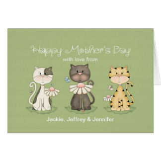 Mother's Day, 3 Cats from all - custom names Greeting Card
