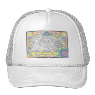 Mothers Day - ADD YOUR PHOTO - Spring Flowers Mesh Hat