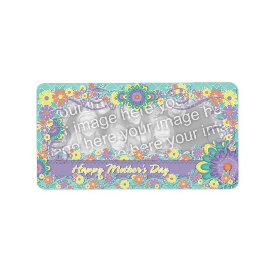 Mothers Day - ADD YOUR PHOTO - Spring Flowers Label